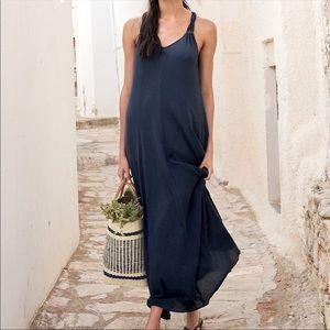Garnet Hill Blue Navy Maxi Dress Cover Up Small